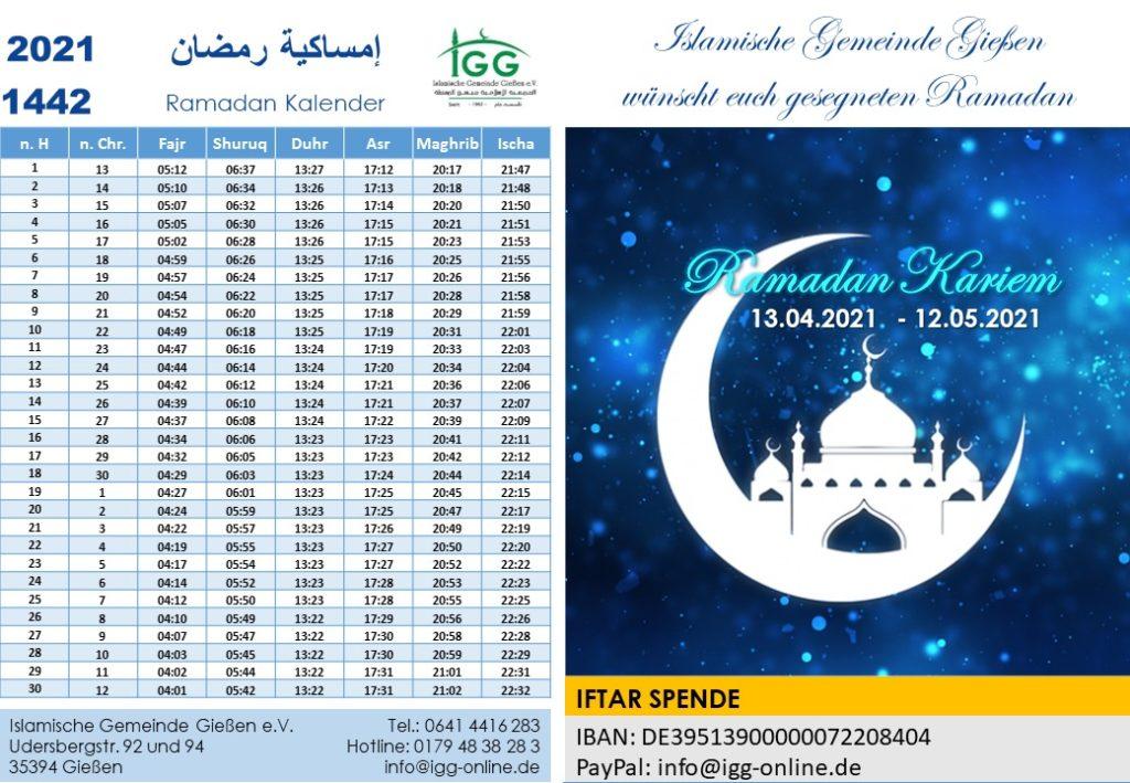 IGG Ramadan Gebetzeiten 1442 2021